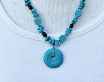 Necklace Turquoise disc and stones, black onyx, silver spacers with decorative S-clasp for easy adornment - 20 inches