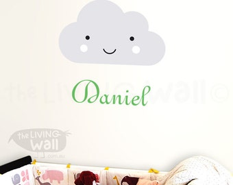 Personalized Baby Name With Smiley Cloud Removable Wall Sticker, Girl Name And Happy Cloud Wall Decals Nursery Decor, Custom Baby Name