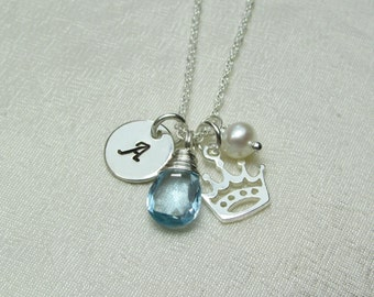 Personalized Necklace Initial Necklace Mothers Birthstone Necklace Monogram Necklace Crown Princess Necklace Sterling Silver Mothers Jewelry