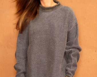 vintage GRUNGE faded BLUE slouchy scoop neck NIRVANA 90s vintage sweater