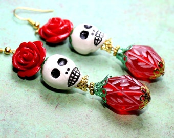 Day of the Dead Earrings, Sugar Skull Earrings, Christmas Earrings, Catrina Earrings, Day of the dead jewelry,  Frida Earrings, Atlanta