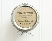 Personalized Custom Thank You Wedding Favor Kraft Round Circle Sticker Labels - Honey Jar Wedding Favors / Sweet Wedding Favor Sticker Label
