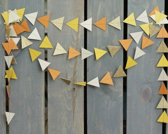 Modern Triangle Arrow Geometric Fall Autumn Sewn Paper Garland - Party Banner, Wedding Decor, Photo Backdrop, Thanksgiving, Mantle Garland