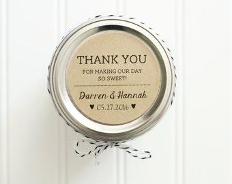 Personalized Custom Thank You Wedding Favor Kraft Round Circle Sticker Labels - Honey Jar Wedding Favors / Sweet Wedding Favor Sticker Label