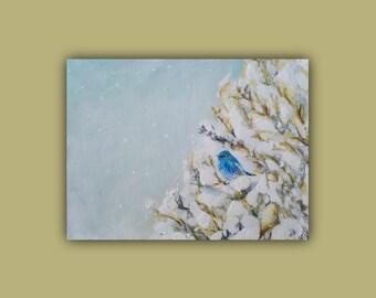 Original Oil - Watercolor LITTLE SNOW BLUEBIRD, Original mixed media painting, bird, bluebird, winter, painting, signed