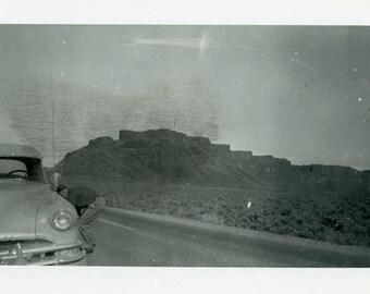 "Vintage Photo ""Unexpected Stop"" Men Car Landscape Snapshot Old Antique Photo Black & White Photograph Found Paper Ephemera Vernacular - 113"