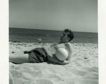 """Vintage Photo """"Vincent and His Volleyball"""" Beach Snapshot Old Antique Photo Black & White Photograph Found Paper Ephemera Vernacular - 54"""