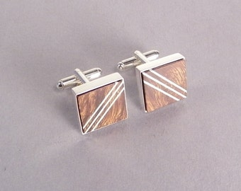 Wooden Cuff Links SHIPS IMMEDIATELY Handmade Inlaid Desert Ironwood Cufflinks Gifts for Dad 5th Anniversary Wood Anniversary Gifts for Him