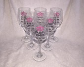 6 Personalized Wine Glasses, monogrammed