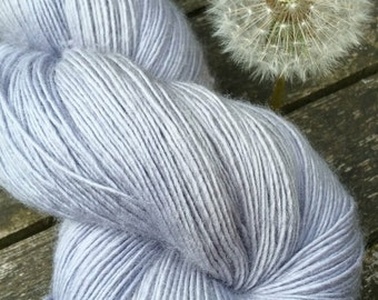 Grey Hand Dyed Sock Yarn, Singles Sock Yarn, light fingering weight yarn, Falkland Merino yarn, 100g