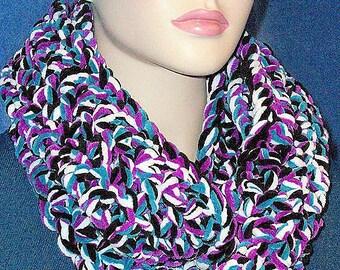 Black Crochet Infinity Scarf, Purple Crochet Infinity Scarf, Purple Chunky Infinity Scarf, Black Chunky Infinity Scarf, Blue Infinity Scarf