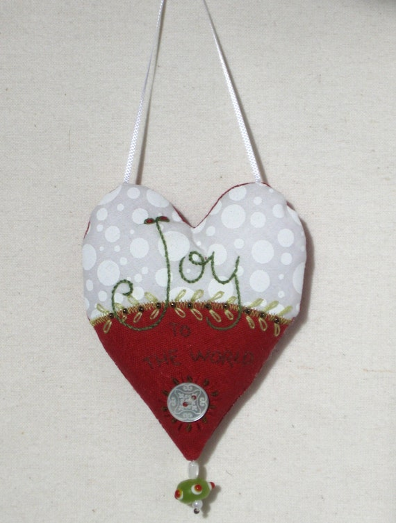 JOY to the world embroidered heart ornament