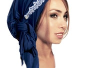 Navy Blue Tichel Head Scarf Fancy Occassions White Lace Gold Lurex Hair Snood Chemo Hat Cap Turban Head Wrap Cotton Pre Tied Bandana - 321