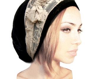 Black Tichel Head Scarf Beige Lace Snoods Pre Tied Bandana Head Scarves Hair Snood Chemo Boho Chic Taupe Cream Lace Versatile - 076