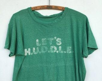 Vintage 70s Lets Huddle Distressed T Shirt L