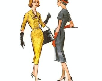 1950s Womens Sheath Dress Pattern, Keyhole Neckline, Slim Skirt, Bust 36 Size 16 McCalls 4615 Vintage Sewing Pattern