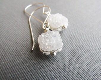 White Druzy Quartz Earrings, White Druzy Earrings, Sterling Silver Earrings,  Druzy Gemstone Earrings, Silver Drusy Earrings