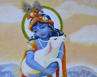 Krishna and the calf original painting Syamarts originals orange yellow periwinkle + prints