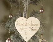 Personalised / Personalized Gift for Mum heart sign Home is where your Mum is, cottage chic engraved wooden plaque Mothers Day Gift for her