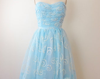 1950s Blue Sparkle Strapless Party Dress