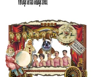 Vintage steampunk Circus collage sheet DIY great card or shadowbox or just for fun