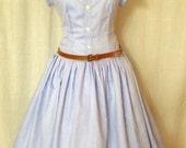Bright blue summer dress with Peter Pan collar