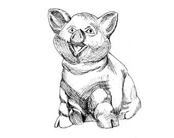 """8x10 or ACEO fine art print of """"pig"""" ink drawing, sketch, artwork, pig, hog, swine"""