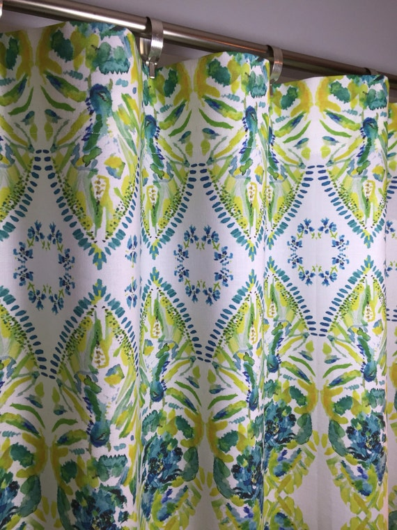 Yellow turquoise lime green cafe valances and curtains - Green and turquoise curtains ...