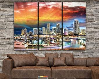Miami Skyline Canvas Set, Large Wall art of Miami Print, Miami Canvas, Miami Art, Miami Photo, Large Wall Art, Miami Wall Art, Miami Poster
