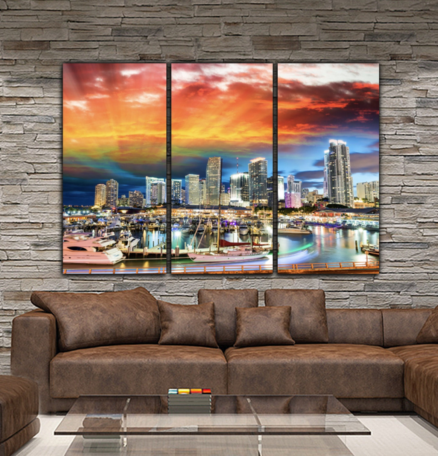 Miami Skyline Canvas Set Large Wall Art Of Miami Print Miami