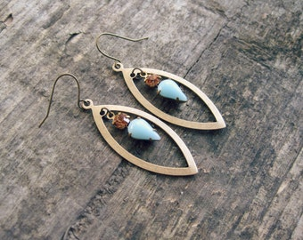 Smokey Topaz Light Blue Pointed Oval Earrings // Rhinestone Earrings, Vintage Glass Earrings, Brass Dangle Earrings, Boho Chic Earrings