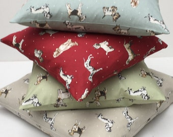 Dog Themed Pillow Cover,  Dog Cushion Cover, Highland Terrier, Dalmatian, Beagle Pup, Westie, Red Setter, Sage Green,  Various Sizes,