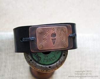 Indiana Jewelry: Leather Bracelet with State Emblem.