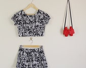 White and Black Paint Splatter Print Twin Set Crop and Shorts 90s Cute Lolita 60s Matching Flowers Festival