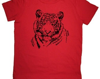 Tiger Shirt - Big Cat Kids T Shirt - 7 Colors Available - Sizes 2T, 4T, 6, 8, 10, 12 - Gift Friendly - Tiger Tee Tshirt - Boys / Girls Top