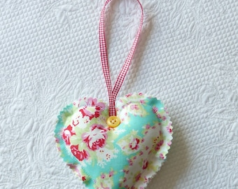 Paisley and floral Hanging Heart Ornament Fabric Aqua sweet roses europeanstreetteam