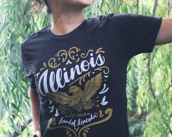 Illinois Land of Lincoln Triblend Black Unisex T-shirt. Illinois Flourish Vintage Style Soft Screenprinted Midwest Women's Men's Tee Shirt