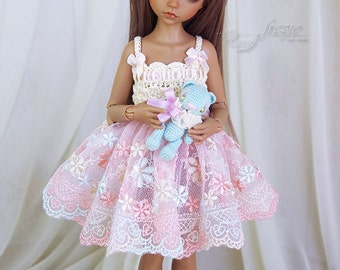 Ecru & light salmon dress for TINY bjd  35 cm Iplehouse K.I.D.