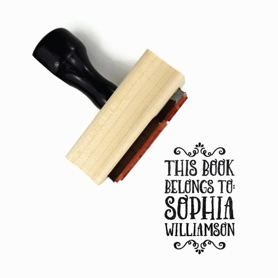 Custom Bookplate Rubber Stamp - This Book Belongs to Name Stamp - Personalized Customized Unique Gift for the Bibliophile