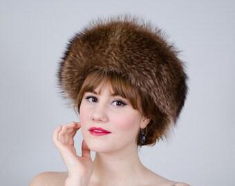 1960s vintage hat / raccoon fur hat / Jean Guy
