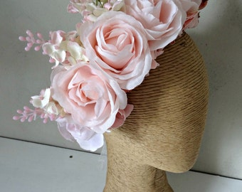 Soft Pink Spring Racing Carnival Flower Crown Fascinator Headband Melbourn Cup Floral Crown Wedding Flower Crown Races Flower Headband Races