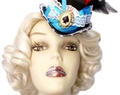 Alice Wonderland Mini Fascinator Top Hat Steampunk Tea Party Blue White Mad Hatter