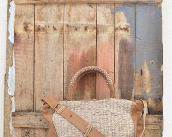 Large Top Handle Tote for Summer and Beach Holidays. Natural and Tan. Made to Order