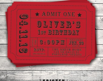 Carnival Ticket Invitation- Admission Ticket Stub-Great for a Birthday Party or Other Event- Digital File Setup for DIY Printing