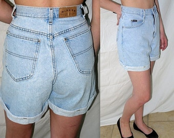 Music factory ... vintage 80s 90s jean shorts / cuffed rolled / light acid bleached denim / high rise waisted ..  waist 29