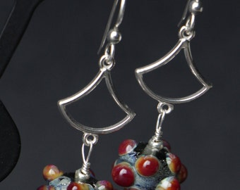 Silver Glass Brown Red Lampworking Sterling Silver Earrings