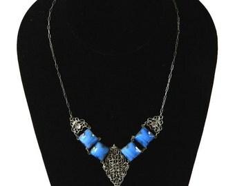 Vintage 1920s Art Nouveau Rhinestone Necklace