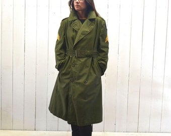 Army Trench Coat 1960s Vintage Green Canvas Sergeant Jacket Flaming Sword Allied Forces Patches Small Medium