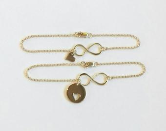 Gold Mother Daughter Heart Bracelet, Sterling Silver Mother Daughter  Heart Bracelet, Round Heart Cutout Bracelet