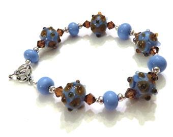 Blue Lampwork Bracelet, Topaz Swarovski Crystals, Blue Bracelet, Topaz Bracelet, Topaz Crystal Bracelet, Lampwork Jewelry, Sterling Silver